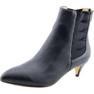 Nina Yanni Women Pointed Toe Leather Black Ankle Boot