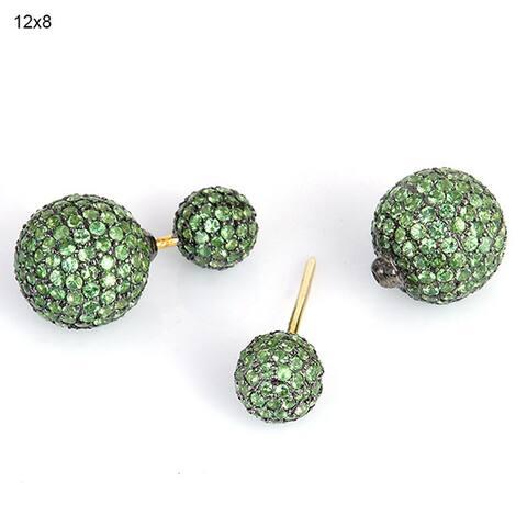 Tsavorite 18k Solid Gold Double Earrings 925 Sterling Silver Jewelry