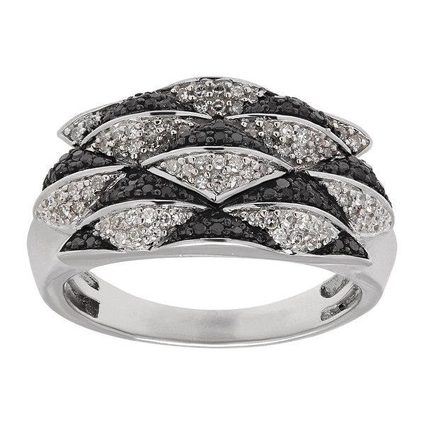 1/2 ct Black & White Diamond Geometric Ring in Sterling Silver