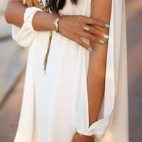 Slit Sleeve V-Neck Shirt Dress in 6 Colors