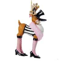 "5"" Polar Prancers Sassy Reindeer with Faux Boa Decorative Christmas Ornament"