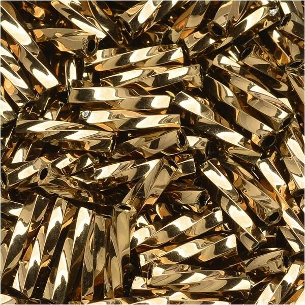 Toho Glass, Twisted Bugle Beads Size 3 9x2mm, 10 Grams, Bronze