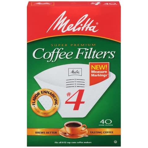 Melitta Premium #4 Cone Paper Coffee Filters White - Measure Markings , 40 Count, 2 Pack