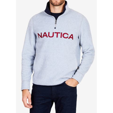 Nautica Gray Red Mens Size 2XL Logo Embroidered 1/2 Zip Sweater