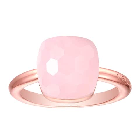 Vedantti Max Honeycomb Cut Pink Opal Gemstone Angel Solitaire Ring