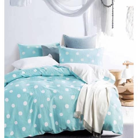 Clara Blue/White Polka Dots 100% Cotton double layer yarn Comforter Set