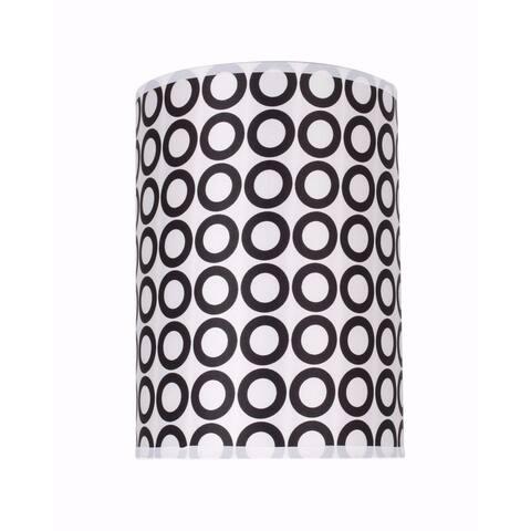 "Aspen Creative Hardback Drum (Cylinder) Shape Spider Construction Lamp Shade in Black & White Geometric Print (8"" x 8"" x 11"")"