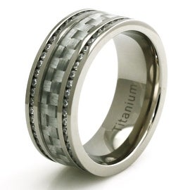 Titanium Double Eternity CZ Silver Colored Carbon Fiber Ring