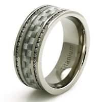 Titanium Double Eternity CZ Silver Colored Carbon Fiber Ring