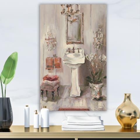 Designart 'French Bath La baignoire I' Traditional Bathroom Premium Canvas Wall Art - Grey