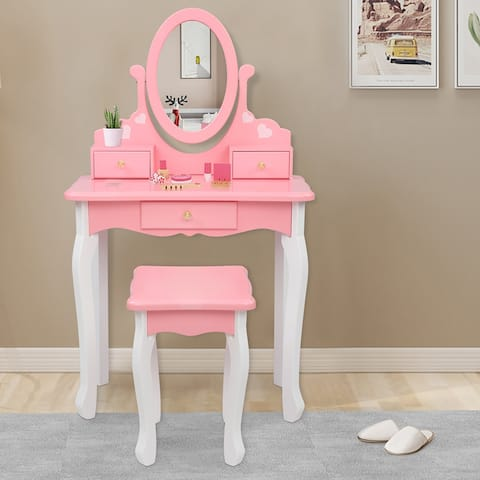 Kids Vanity Table and Stool Set Wooden Dressing Table Reversible Round Mirror