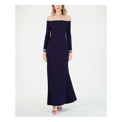 VINCE CAMUTO Womens Navy Long Sleeve Maxi Sheath Formal Dress Size 6