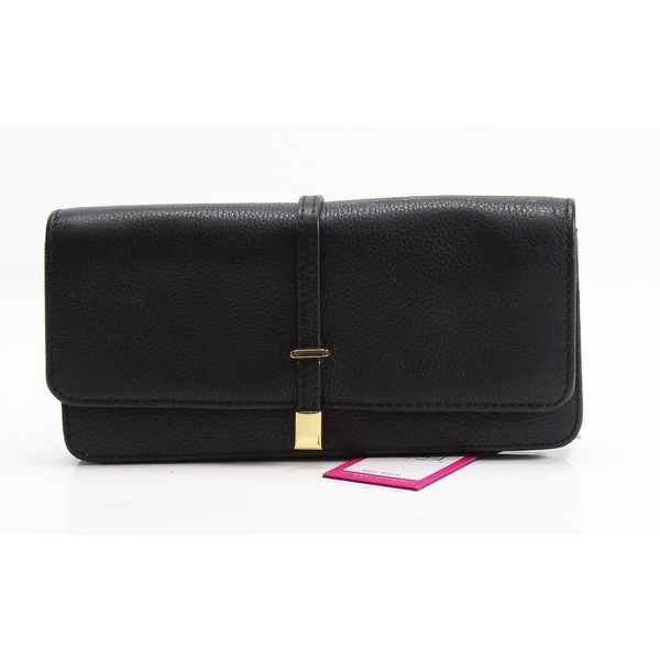 VINCE CAMUTO Black Pebble Leather Molly Clutch Gold Flap Wallet