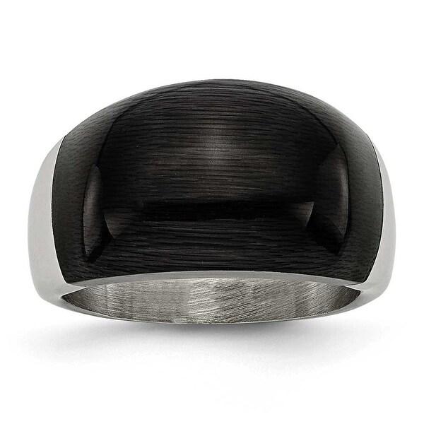 Stainless Steel 12mm Black Cat's Eye Ring