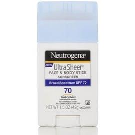 Neutrogena Ultra Sheer Sunscreen, Face & Body Stick, Broad Spectrum SPF 70, 1.5 oz
