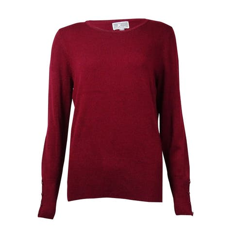 JM Collection Women's Crewneck Buttoned-Sleeves Sweater