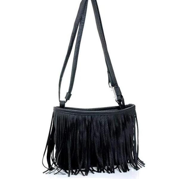 99dcee9357 Women Fringe Tassel Shoulder Messenger Bag Crossbody Leather Handbag Purse