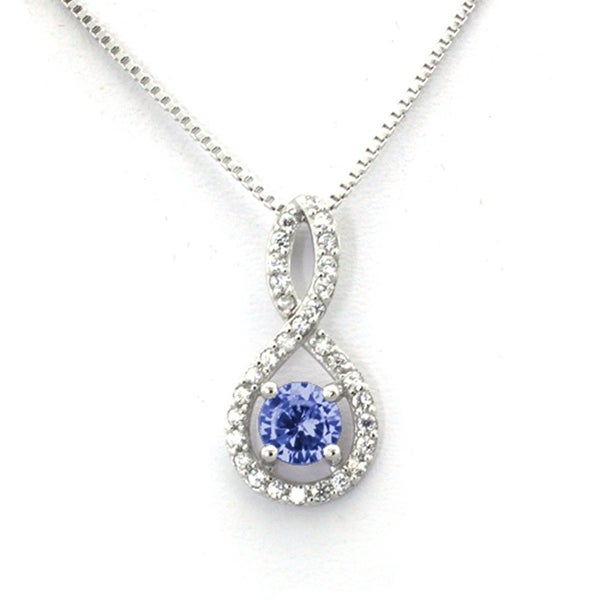 Sterling Silver Figure 8 Sapphire CZ Color Center (September Birth) Stone Pendant - 18 inches
