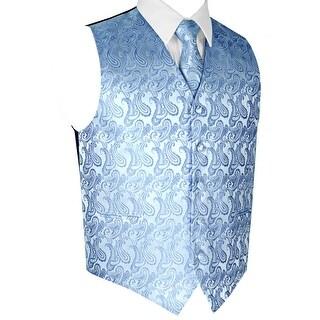 Men's Formal Tuxedo Vest, Tie & Pocket Square Set-Cornflower Paisley-M