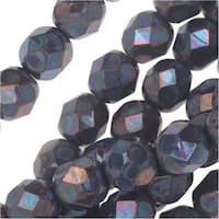 Czech Fire Polished Glass, Faceted Round Beads 6mm, 25 Pieces, Violet Nebula
