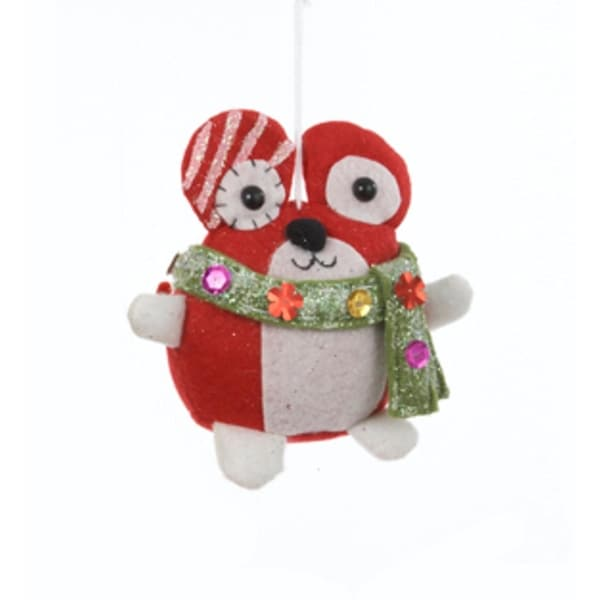 """6"""" Ugly Cuties """"Max"""" the Mouse Plush Animal Christmas Ornament - RED"""