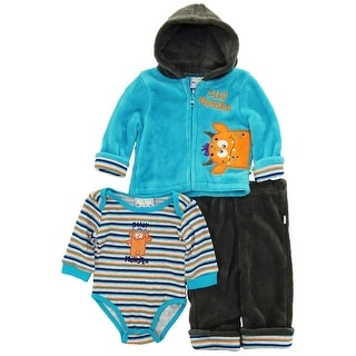 Duck Goose Baby Boys Cute Silly Monster Sherpa Jacket Bodysuit 3Pc Pant Set