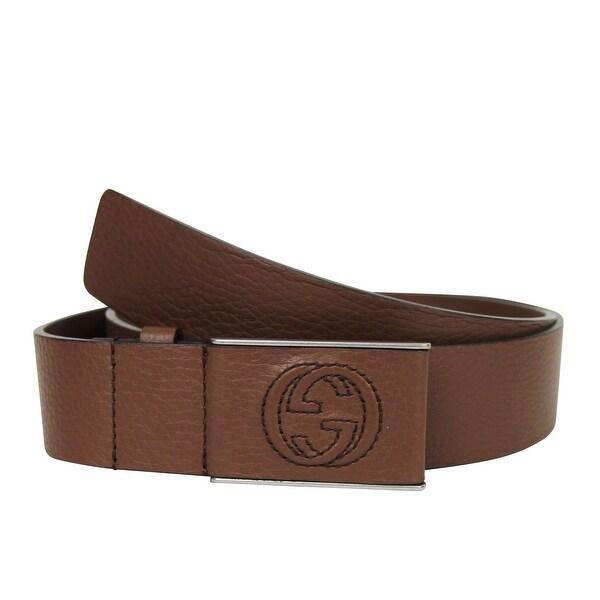 3b08d9a02a7 Shop Gucci Men s Square GG Brown Leather Belt Buckle 368188 2138 (95 ...