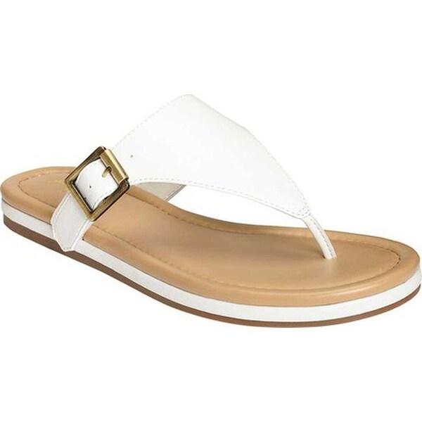 9193235218a8 A2 by Aerosoles Women  x27 s Drop Down Thong Sandal White Faux Leather