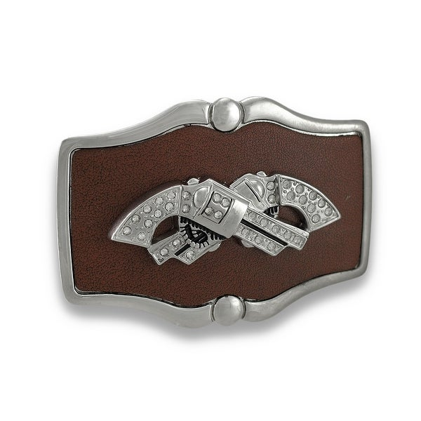 Chrome and Brown Leather Crossed Rhinestone Revolvers Belt Buckle