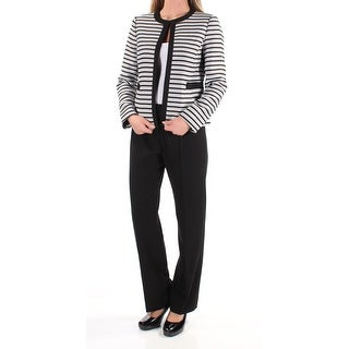 Womens Black Striped Wear To Work Straight leg Pant Suit Size 2