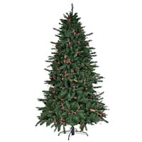 Gymax 6' Artificial PVC Christmas Tree Red Berries & Pine Cones Decoration