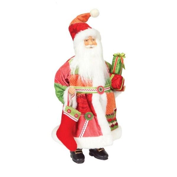 """20"""" Patchwork Santa Claus Decorative Christmas Table Top Figure"""