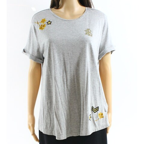 Lauren By Ralph Lauren Gray Womens Size Large L Embroidered Top