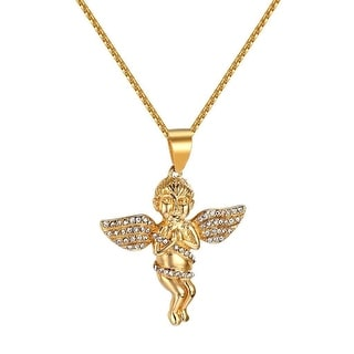 Praying Angel Cherub Pendant Chain Guardian Iced Out Gold Tone Stainless Steel