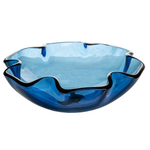 Eden Bath Wave Rim Blue Glass Vessel Sink