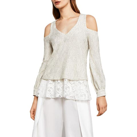 BCBG Max Azria Womens Hansen Pullover Sweater Lace-Trim V-Neck - S