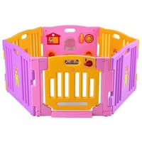 Costway Pink 6 Panel Baby Playpen Kids Safety Play Center Yard Home Indoor Outdoor Pen