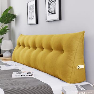 WOWMAX Bed Rest Wedge Bolster Pillow Yellow Linen Blend Decorative