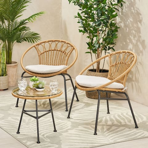 Banya Outdoor Faux Wicker Chat Set by Christopher Knight Home