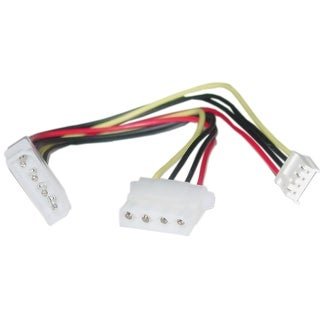 Offex 4 Pin Molex to Floppy and 4 Pin Molex Power Y Cable, 5.25 inch Male to 5.25 inch Female and 3.5 inch Female 8 inch
