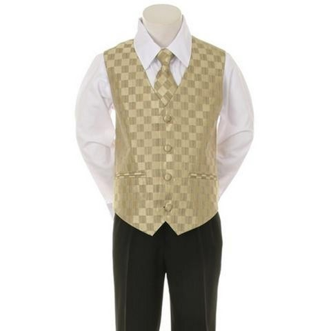 Kids Dream Gold Checkered Vest Necktie Special Occasion Boys Suit 5-20