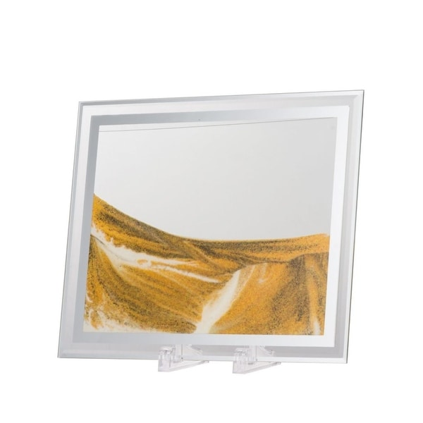 """11.75"""" Yellow and Gray Large Moving Sand Table Art - N/A"""