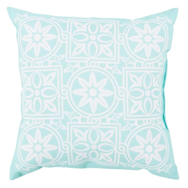 """18"""" Light Cloud White and Paled Turquoise Floral Maze Decorative Pillow Shell"""