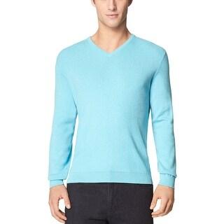 Calvin Klein CK V-Neck Sweater Light Blue Mist Heather Lightweight Pullover - XL
