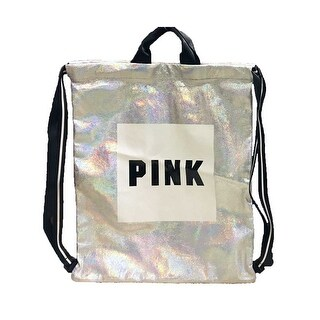 "Victoria's Secret PINK Iridescent Drawstring Backpack W Logo 18"" L"