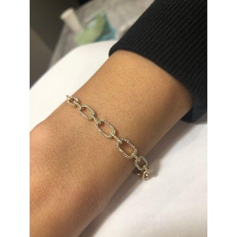 Diamond Link Bracelet 0.63 ct 14K Yellow Gold Bracelet by Joelle Collection