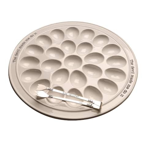 Mud Pie The Devil Made Me Do It Deviled Egg Tray & Tongs Set - Medium