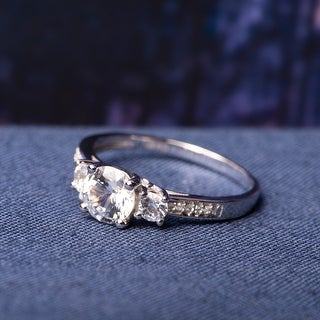 Link to 3-Stone Sapphire and Diamond 10k White Gold Engagement Ring by Miadora Similar Items in Rings