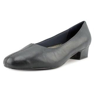 Trotters Doris Women D Square Toe Leather Blue Heels