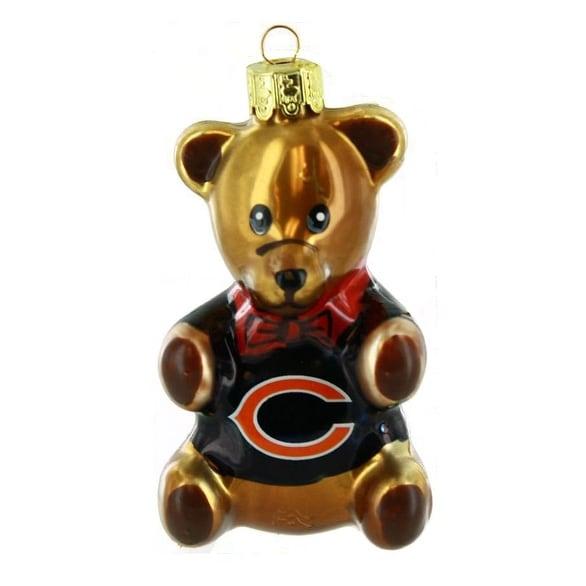 "Chicago Bears 3.5"" Blown Glass Teddy Bear Ornament"